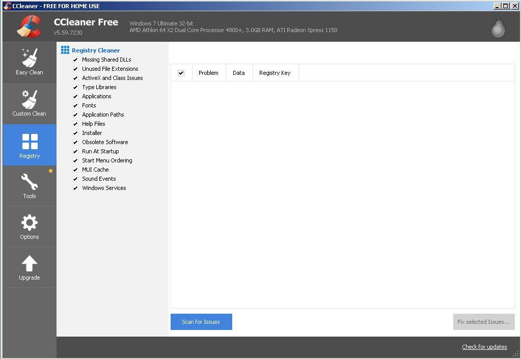 قائمة الرجيسترى داخل برنامج ccleaner v5..59