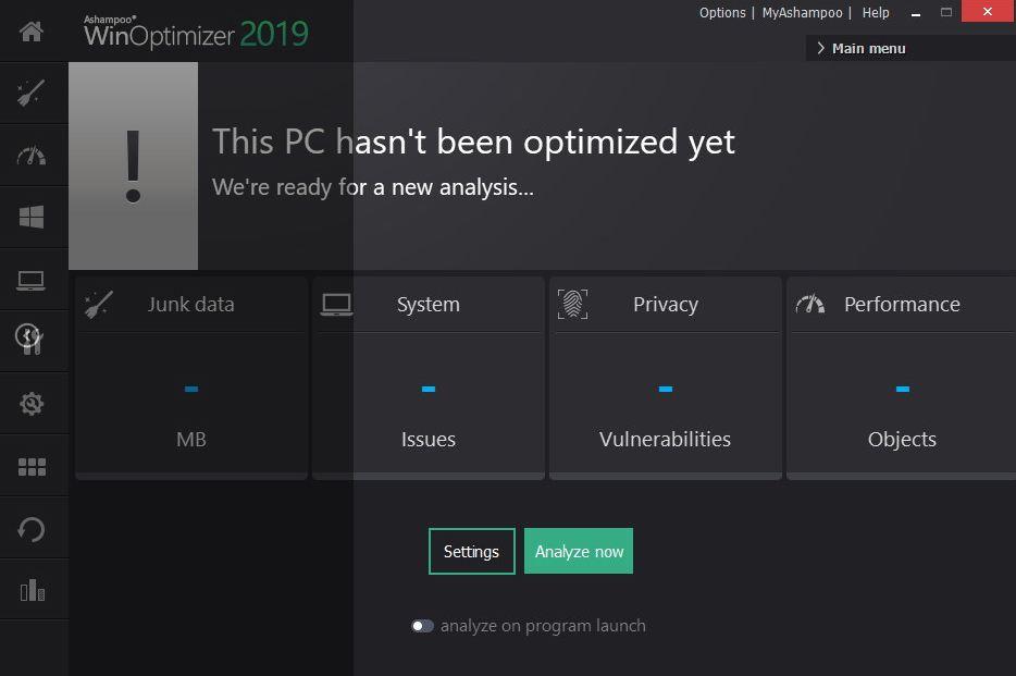 واجهة برنامج Ashampoo WinOptimizer 2019