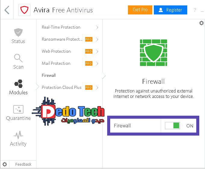 اداة حماية ضد الإنترنت الخارجي غير المصرح به أو الوصول إلى الشبكة إلى جهازك برنامج افيرا 2020